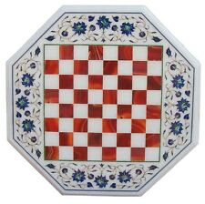 "15"" Marble Coffee Center Chess Table Top Rare Stone Mosaic Inlay Patio Art H2078"