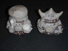 SCANDINAVIAN? POTTERY SQUAT QUIRKY FIGURINES OF A CHEF & A VIKING