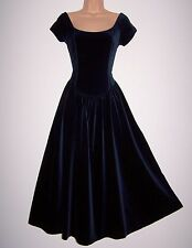Laura Ashley vintage midnight velvet occasion festive party medieval dress 14UK