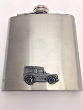 Land Rover Defender ref115 pewter effect car on a 6oz Stainless Steel Hip Flask