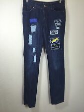 WOMENS DEREON JEANS DISTRESSED CUT BLUE BOOT SKINNY SIZE 5/6 PATCHES SEQUINS