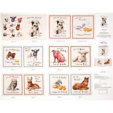 "Who says Woof Animals Soft Book Cream 100% cotton 43"" fabric by the panel 36"""