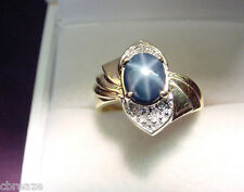 GENUINE BLUE STAR SAPPHIRE  1.41 CTS  with  DIAMONDS  14K GOLD RING
