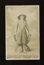 GIRL GUIDES Lady in uniform c1910/20s? RP PPC faults