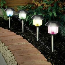4 x Colour Changing Solar Power Light LED Post Outdoor Lighting Powered Garden