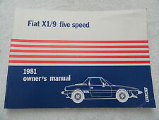 1981 Fiat X1/9 X 19 X19  Five Speed  Owners Manual