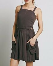 3284 New Free People Raw Hem Crossed Open Back Pleated Mini Tunic Dress S 6