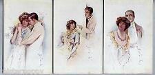 VENZOLLA Lotto 3 cartoline Amanti Donnine Liberty Glamour Lovers PC Circa 1910