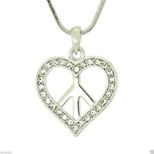 "Heart Peace Hippie W Swarovski Crystal Clear  Pendant Day 18"" Chain Gift"