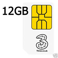 Three 4G Payg Sim Card With Free Data Pre-Loaded Trio Data SIM Pack 12 GB