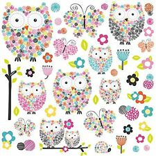 PRISMA OWLS Wall Decals Prismatic Flowers Room Decor Stickers Flowers Butterfly