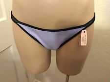 Victoria's Secret M String Side Bikini Swimwear Bottom Periwinkle Black Trim NWT