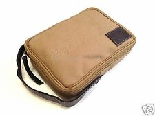 Timberland Khaki Shaving Toiletry Canvas Leather Flat Pack Bag Travel Dopp Kit