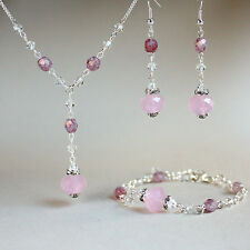 Pink crystals necklace bracelet earrings silver wedding bridesmaid jewellery set