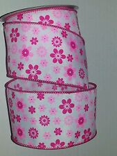 """SPRING RIBBON - WHITE W/PINK FLOWERS PATTERN WIRED EDGE - 2.5"""" X 25' - #5"""