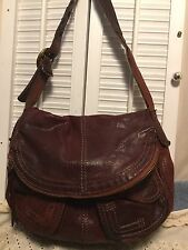 LUCKY BRAND STASH Whiskey Brown Italian Leather Slouchy Hobo Shoulder Handbag