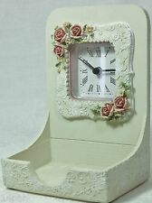 Rose Design Desk Clock & Business Card Trinket Jewels Holder BNIB CLK8772