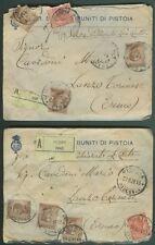 Regno. Due assicurate per lire cento da Pistoia. Del 27.6.1921 e del 29.8.1921