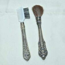 Set Of 2 Antique Wallace Baroque Makeup Brushes Scroll Ornate Goat Hair Rare