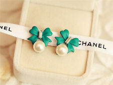 New Pearl Earrings Crystal Earrings green bow Diamond Earrings Jewelry A051
