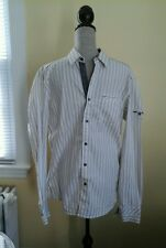NEW WITH TAGS NO EXCESS MEN'S SHIRT WHITE W/ GRAY SIZE L LONG SLEEVE