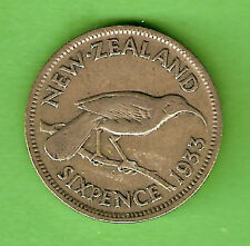 1933  NEW ZEALAND SILVER SIXPENCE COIN