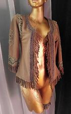 GIMMICKS by BKE Boho Cardigan Open Front Jacket Top Fringe Bead Lace Trim Sz XS
