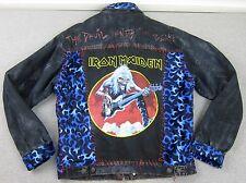 Woman's Custom Hand Made Iron Maiden Denim Jean Adorned Jacket Eddie Coat