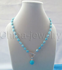 """P6052-19"""" 9-11mm blue baroque freshwater pearl+14mm shell pearl pendant necklace"""