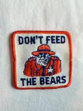 "NEW VINTAGE EMBROIDERED 3"" PATCH APPLIQUE ""DON'T FEED THE BEARS"" PARK RANGER"