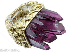 Bohemian Hip Hop Gold Stretch Ring with Royal Purple Crystal Bling