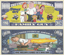 Family Guy Million Dollar Bill **Novelty Money** FREE Sleeve