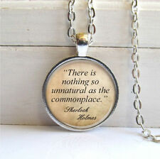 Vintage Cabochon Quote Silver Plated Glass Chain Pendant Necklace zz#67