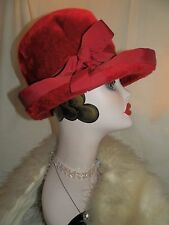 "Vtg Red Cloche Flapper Style Ladies Hat Adolfo Realities Made in Italy 21"" D"
