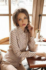 2016 New Women Polka Dot Chiffon Long Sleeve Loose Tops Blouse Casual T Shirt