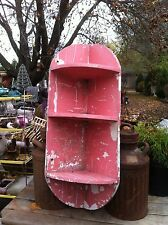 Vintage 3 tier wooden corner shelf Shabby like chic pink  paint