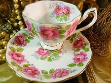 QUEEN ANNE TEA CUP AND SAUCER LADY ALEXANDER PINK ROSES GOLD TRIM VINTAGE