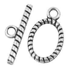 10 Sets Tibetan Silver Alloy Twist Oval Toggles Clasps - A6391