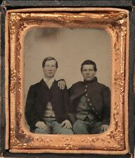 CIVIL WAR TINTYPE OF TWO YOUNG SOLDIERS HAND COLORED W/ GILDED BUTTONS -IN CASE