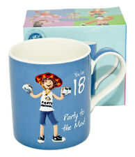 "Happy Birthday Blue Mug -  With Message ""You're 18 - Party to the Max!"""