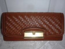 NWT Coach Kristin Woven Leather Slim Envelope Wallet Clutch Saddle Brown 49100