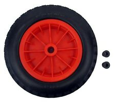 "PU 16"" Puncture Proof RED Wheelbarrow 1"" BORE Tyre 4.80 - 8 BARROW WHEEL"