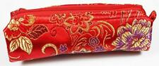 Red Make Up Cosmetics Bag Gold Silk Embroidery Makeup Storage in your Handbag