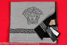 VERSACE Black / Grey Fret & Medusa Head Wool Knit Scarf Made In Italy BNWT