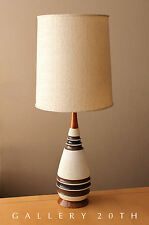 MID CENTURY DANISH MODERN TEAK CERAMIC TABLE LAMP! Vtg 1950's Wegner Atomic