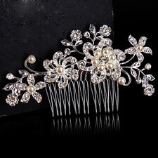 Wedding Bridal Jewellery Rhinestone Crystal Flower Pearl Silver Hair Comb Clip