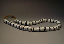 ANTIQUE AFGHANISTAN BLACK n WHITE ZEBRA FOLDED GLASS BEADED NECKLACE. C:1900's