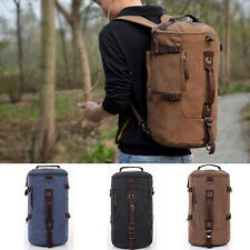 Hiking Canvas Laptop Backpack Rucksack Men's New Shoulder Camping Travel coffee