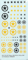 US-110 - WWII US Stars in Black and Yellow - 1/76-1/144 Decals