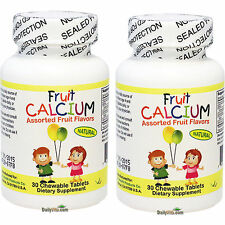 2 x Chewable Children's Fruit Natural Calcium for Kids 30 Tablets, Global Ship